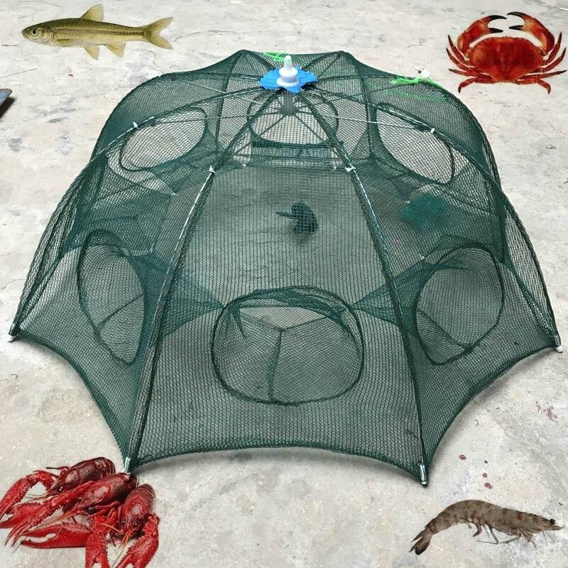 6 furos Dobrável Nylon de Pesca de Caranguejo Camarão Armadilha Elenco Dip Net Gaiola Isca De Pesca Para O Peixe Peixinho Lagosta EDF88