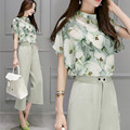 New 2017 Summer Women Casual Chiffon Suit Slim 2 Pieces Set O-Neck Batwing Sleeve Floral Print Tops + Wide Leg Pants Sets T1043S