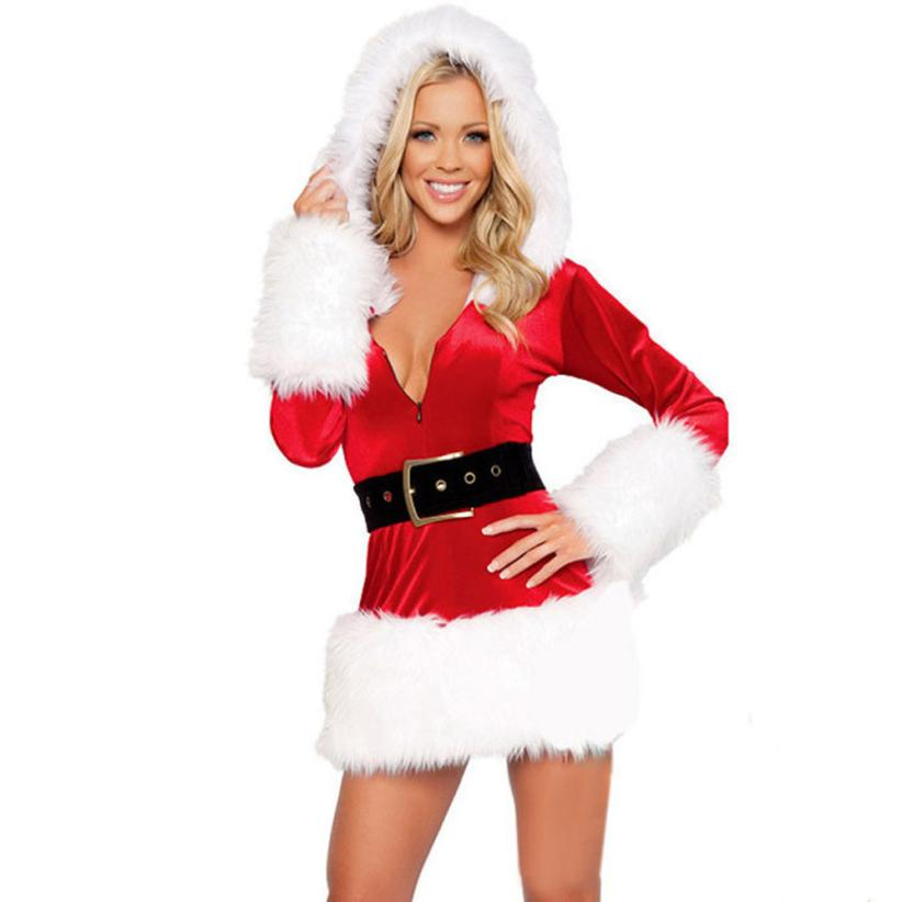 Good Quality Long Sleeve Hooded Santa Claus Xmas Dress Sexy Christmas  Costume Party Club Mini Dress-in Holidays Costumes from Novelty & Special  Use on ... - Good Quality Long Sleeve Hooded Santa Claus Xmas Dress Sexy