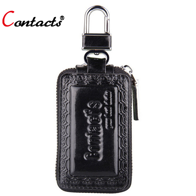 CONTACT'S genuine leather car key wallets classic high quality car key cases zipper men and women key bags famous brands