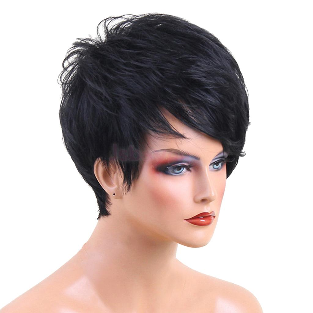 Fashion Women Black Curly Wavy Short Pixie Cut Hair Wigs Natural Real Human Hair Fluffy Full Wigs