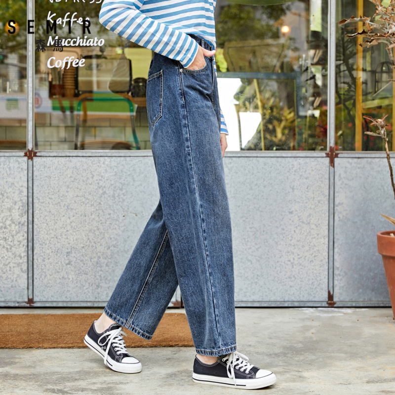 SEMIR Jeans old pants women loose 2019 autumn new wide leg cotton Korean cec pants wide leg tide for woman in Jeans from Women 39 s Clothing