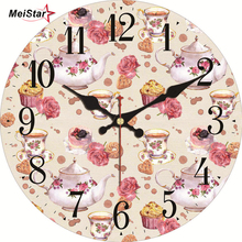 MEISTAR Vintage Round Teatime Design Wall Clock Classic Watches Silent Home Cafe Balcony Kitchen Decoration Art Large