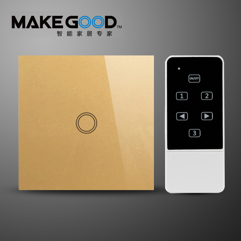 Makegood EU Standard Touch Screen Glass Panel and Remote Control Light Switch 1gang 1 Way, Smart Home eu 1gang smart home domotica remote control light switch wireless remote glass panel switch automatic touch screen lamp switch