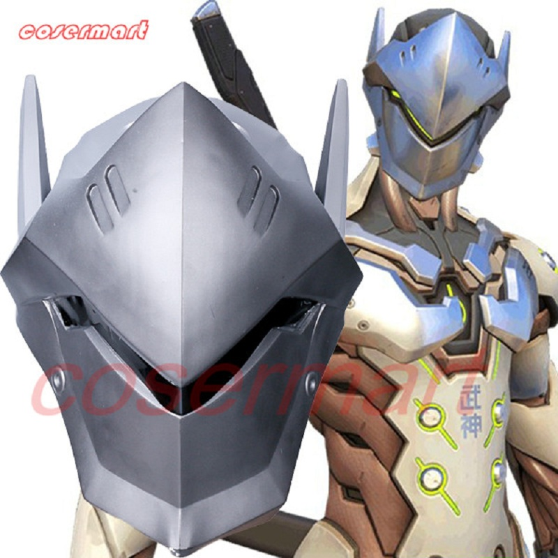 Game OW Over Watch Genji Overhead Helmet Cosplay Mask PVC Helmet Halloween Carnival Party Prop (1)_