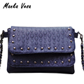 Manka Vesa rivet Women Messenger bags Brand Clutch Skull Crossbody Bag Small Shoulder bag sac a main soft Women Leather Handbags