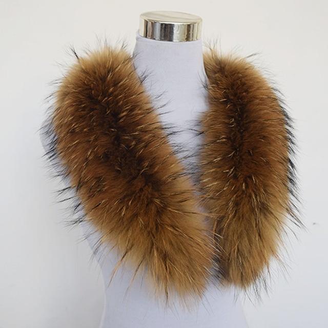 Hot ! 80cm Large True 100% Raccoon Fur Collar Real Genuine Collar Fur Scarf Shawl Wrap Great QS-103