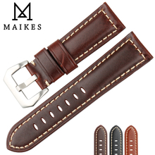 MAIKES Handmade Retro Leather Strap Watch Band 22mm 24mm 26mm Watchband Bracelet Stainless Steel Buckle For Panerai
