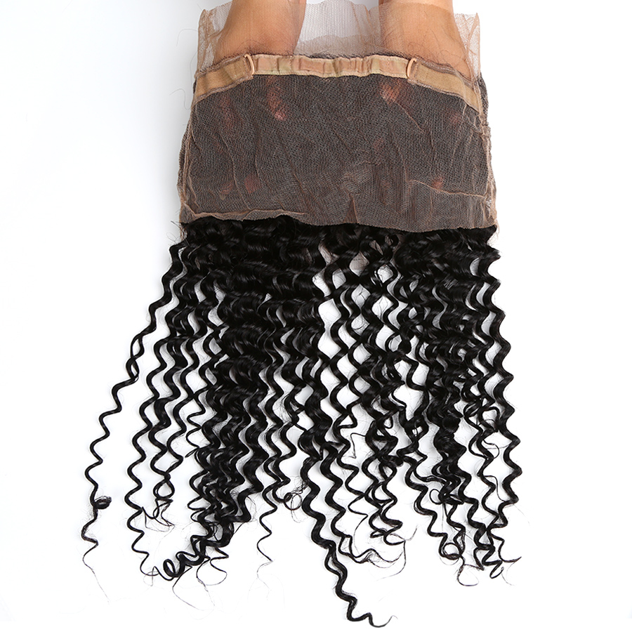 Alidoremi Brazilian Deep Wave 360 Lace Frontal Natural Color 12-20inch 100% Non-Remy Human Hair Free Shipping