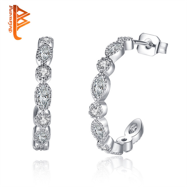 651de8cae BELAWANG Alluring Brilliant Marquise Stud Earring Fashion Silver Crystal  Earrings for Women Brincos Wholesale Jewelry Bijoux