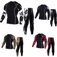 New Logo Custom Compression Tracksuit Men Training Running Set Fitness Tight Long Sleeve Shirt Pants Leggings
