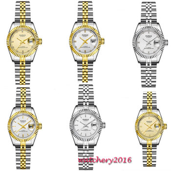 цена 26mm Parnis White diamond dial Sapphire Glass Date Ladies Watches Royal Rhinestones Japan Miyota Automatic movement Womens Watch онлайн в 2017 году