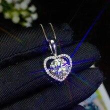 Collier en argent Sterling 925, collier en Moissanite de couleur magnifique, bijou de carité, très chaud
