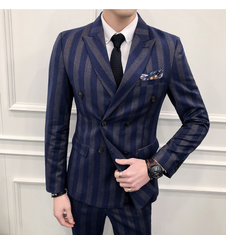 Sensfun 2019 Terno Tuxedo Man Suit Blazers Striped Jacket And Pant Suit Silm Style Casual Business Formal Costume Homme Mariage
