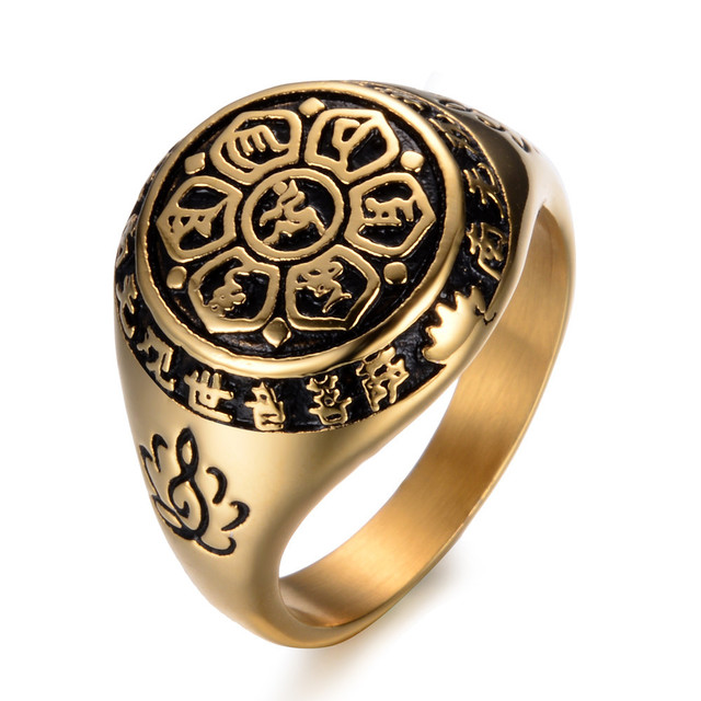 0b0f939217ddb US $4.78 |2017 New arrival gold & Silver color Jewelry Stainless steel  Lotus Buddhistic Six Words' Mantra Rings for Women Men Lovers Gifts-in  Rings ...