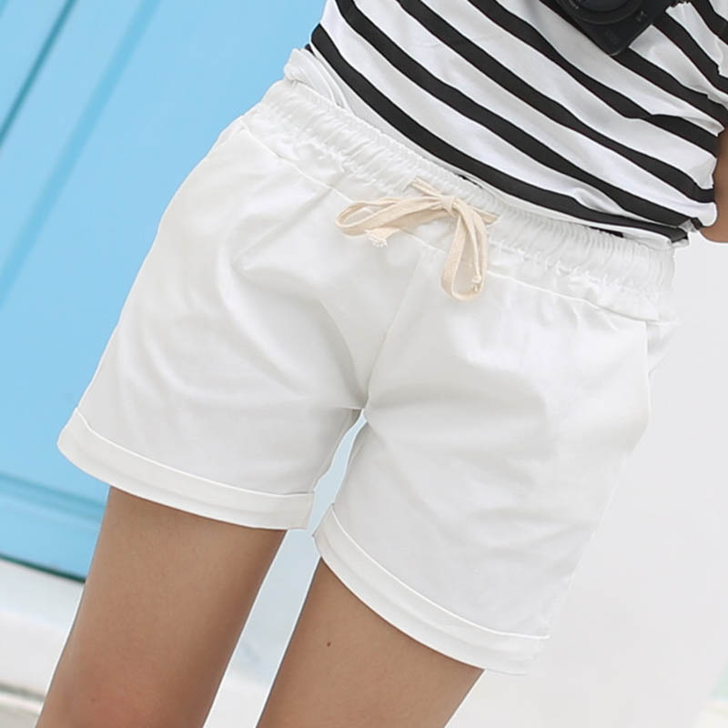 Danjeaner 12 Colors Women Summer High Waist Casual Shorts Slim Fit Elastic Waist Drawstring Cotton Short Feminino Candy Colors
