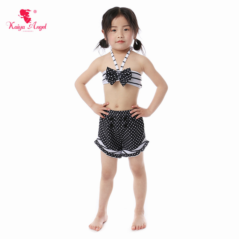 Kaiya Angel New Baby Girl Swimwear Beach Suits Dot Striped Bow Two Pieces Belt Shorts Bikini Summer Swimsuit Factory Wholesale