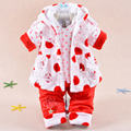 Baby Kids Set 2016 Winter Girl Flannel Ultra Thick Super Warm (Three Piece Sets) Baby Korean version Cotton-padded clothes