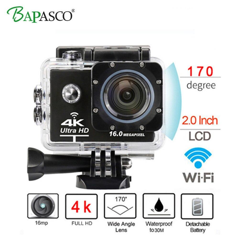 Nouveauté! caméra d'action originale BAPASCO Ultra HD 4 K 30FPS 30 m étanche 2.0 'écran 1080 p caméra sport go extreme pro cam