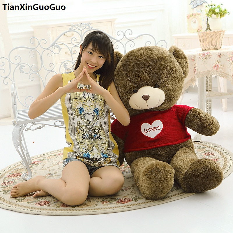 huge 120cm brown teddy bear plush toy loves red sweater bear soft doll hugging pillow birthday gift s0920 1 piece light brown high quality low price stuffed plush toys large size100cm teddy bear 1m big bear doll lovers birthday gift