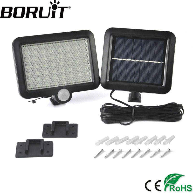 Boruit 56 LED Solar Powered Light with PIR Body Motion Sensor Lamp Outdoor Floodlights Garden Yard Spotlights Wall Lighting solar powered lights with motion sensor lamp dual head spotlight led solar lamps 14leds wall light for yard garden auto on off