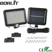 Boruit 56 led بالطاقة الشمسية الخفيفة مع الجسم استشعار الحركة pir الأضواء الكاشفة حديقة فناء مصباح الجدار الإضاءة