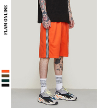 FLAM ONLINE 2019 Loose Cross Shorts Man Sportswear Shorts Side Stripe Contrast Color High Street Vintage Shorts Men