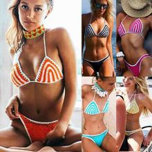 Bandage Bikini Swimwear Women Swimsuit Padded Thong Bikini Set Push-up Halter Swimsuit Bathing Suit Swimwear Brazilian Female все цены