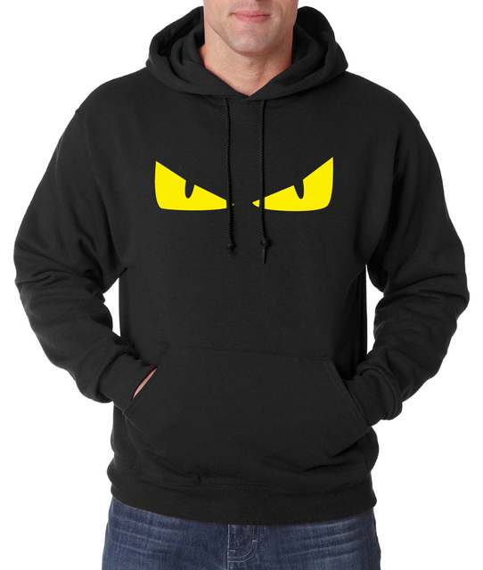 Little Monster yellow eyes print men hoodies 2016 new autumn men sweatshirts fleece high quality hoodie men hip hop streetwear