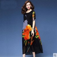 Women Summer Dress 2017 Ethnic Floral Printed Beach Party Dress Elegant Vestido Mujer Silk Maxi Dresses