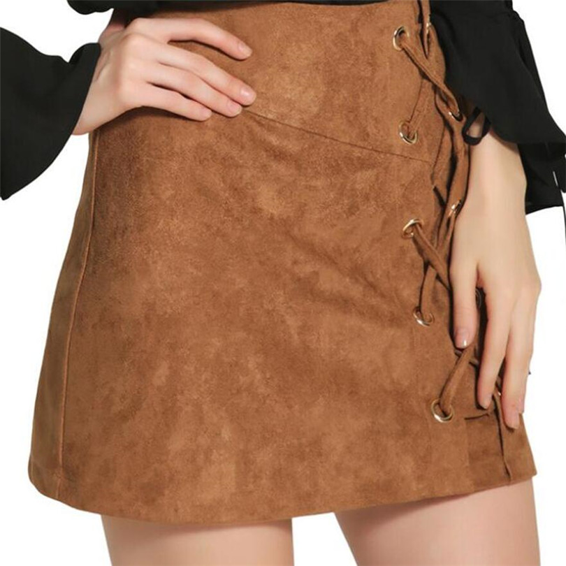 702ec1b2119 2018 Spring Sexy Vintage Woman s Midi Skirts With Plus Size Of The Buttocks  Deer Skin Fashion Solid Color Women Mini Skirt Khaki