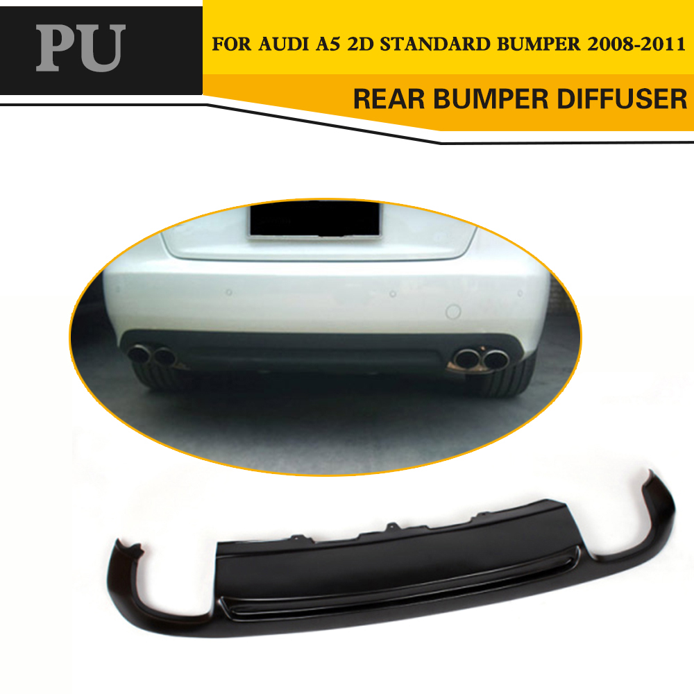 PU Matt Black Rear Bumper Lip <font><b>Diffuser</b></font> for <font><b>Audi</b></font> <font><b>A5</b></font> Standard 2008-2011 Coupe <font><b>Sportback</b></font> 4D Non-Sline Without Decoration image