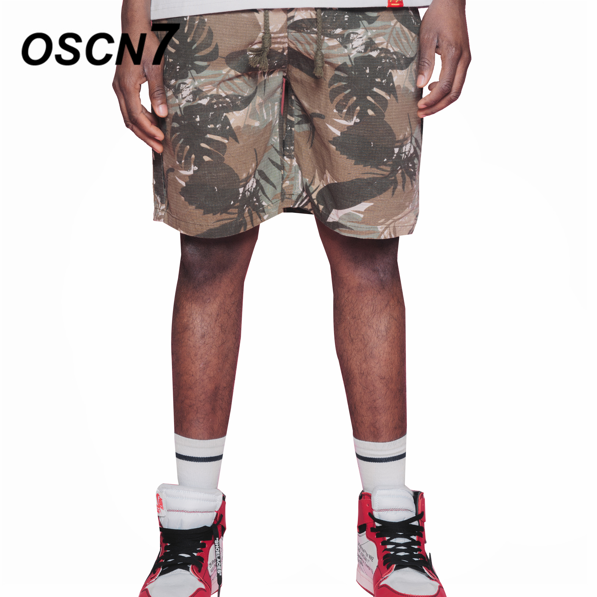 OSCN7 Printed Shorts Men Fashion 2018 Summer New Leisure Beach Mens Shorts Harajuku Short Pants D808