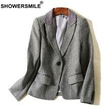73c899f73a CHUVEIROS Inverno Mulheres Blazer Cinza Senhoras Casaco de Lã Casaco De  Tweed Espinha Curta Quente Estilo