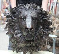 wholesale factory Wall hanging Animal head Male lion Folk Bronze Copper Home Decoration Foo Dog Lion Head Mask Statue Sculpture