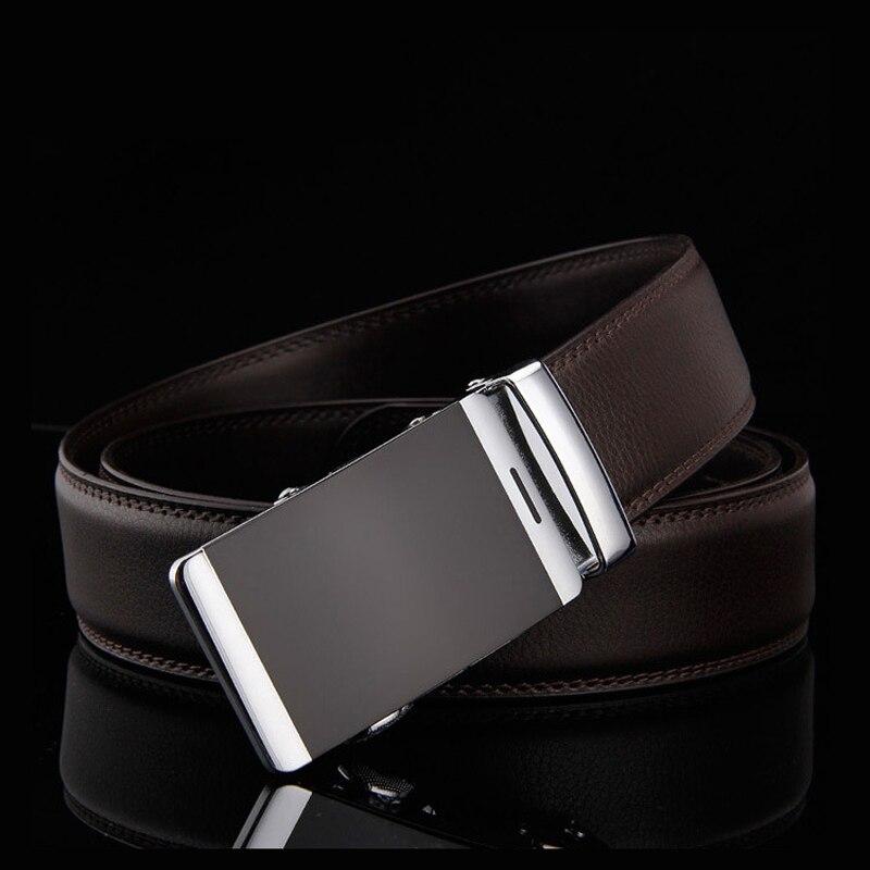 Automatic Buckle Designer Belts Formal Solid Waist Strap Men Belt Brown Male Genuine Leather Jeans Ceinture