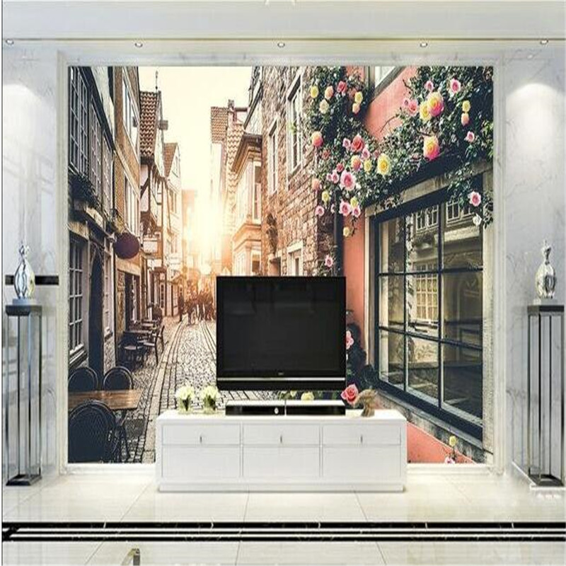 3d large wall mural wallpaper HD Retro beauty sunshine picture