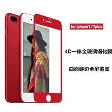 INESKY Красный Цвет 4D закаленное стекло для Apple iphone 7 Plus полное покрытие Защитное стекло для iphone 6 6s Plus edge экран для iphone 8 X