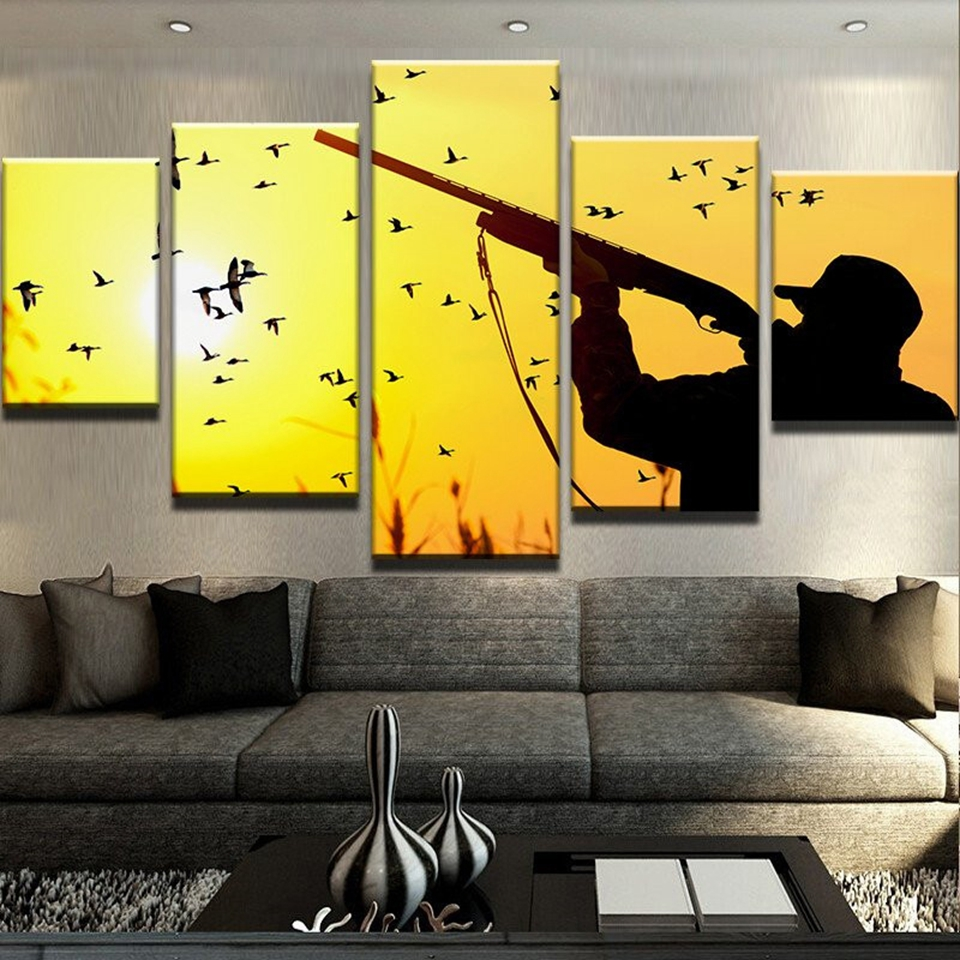 Canvas Pictures Modern HD Printed 5 Pieces Sunset Outdoor Sports ...