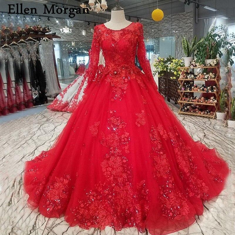Red Vintage Long Sleeves Wedding Dresses Pearls For