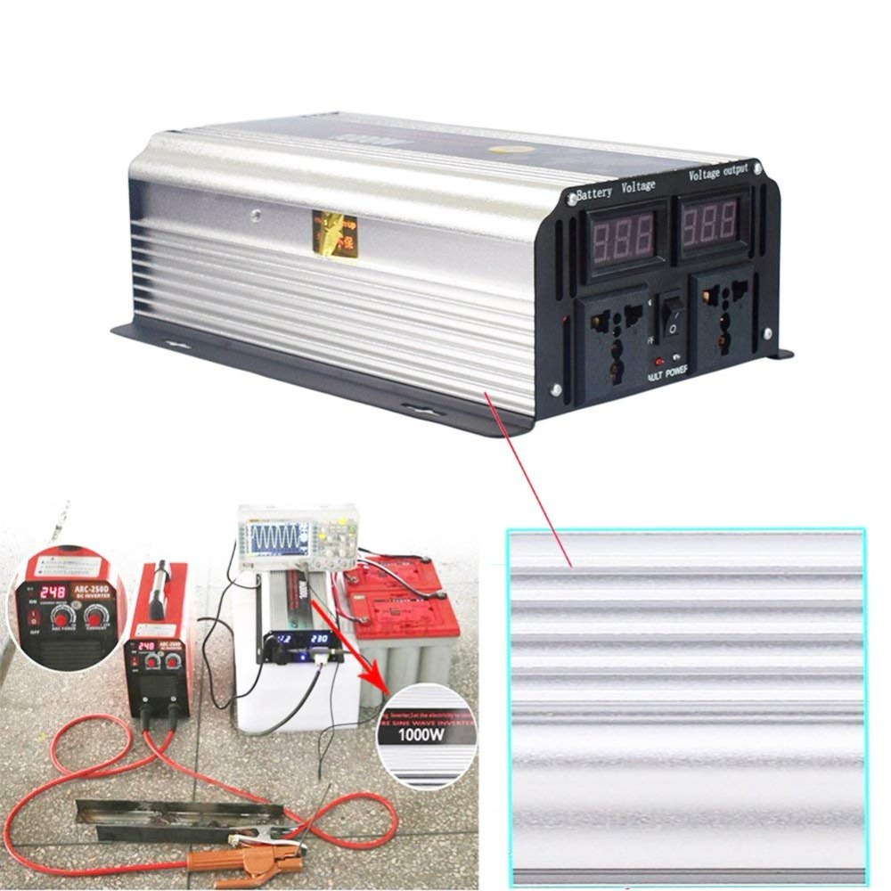 1000W Peak 2000W Pure Sine Wave Solar Power Inverter 12V To Ac 110V/220V High Efficient Dc Power Inverters With LCD Display