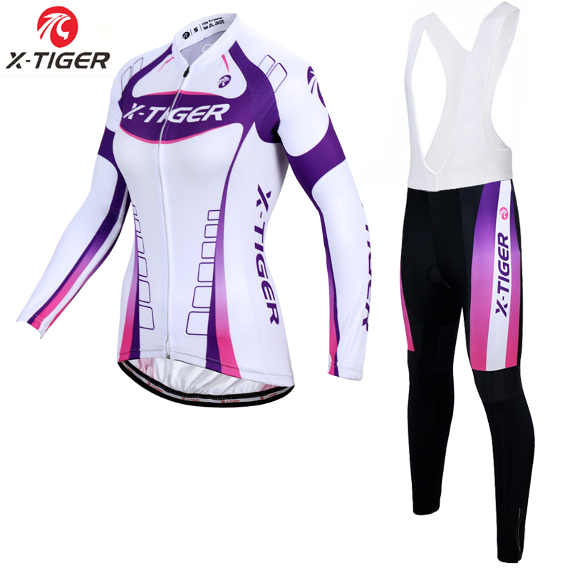 X-Tiger Women Autumn Breathable Cycling Clothing/MTB Bicycle Wear Ropa Ciclismo/Race cycling Clothes/Bike Cycling Jersey Set fualrny summer breathable mtb bike clothing women cycling wear ropa ciclismo bicycle clothes cycling jersey set with bib shorts