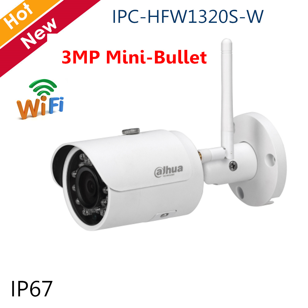 Dahua Export English version IPC HFW1320S W 3MP IR30M IP67 built in WIFI SD Card slot Network outdoor Bullet IP WIFI Camera