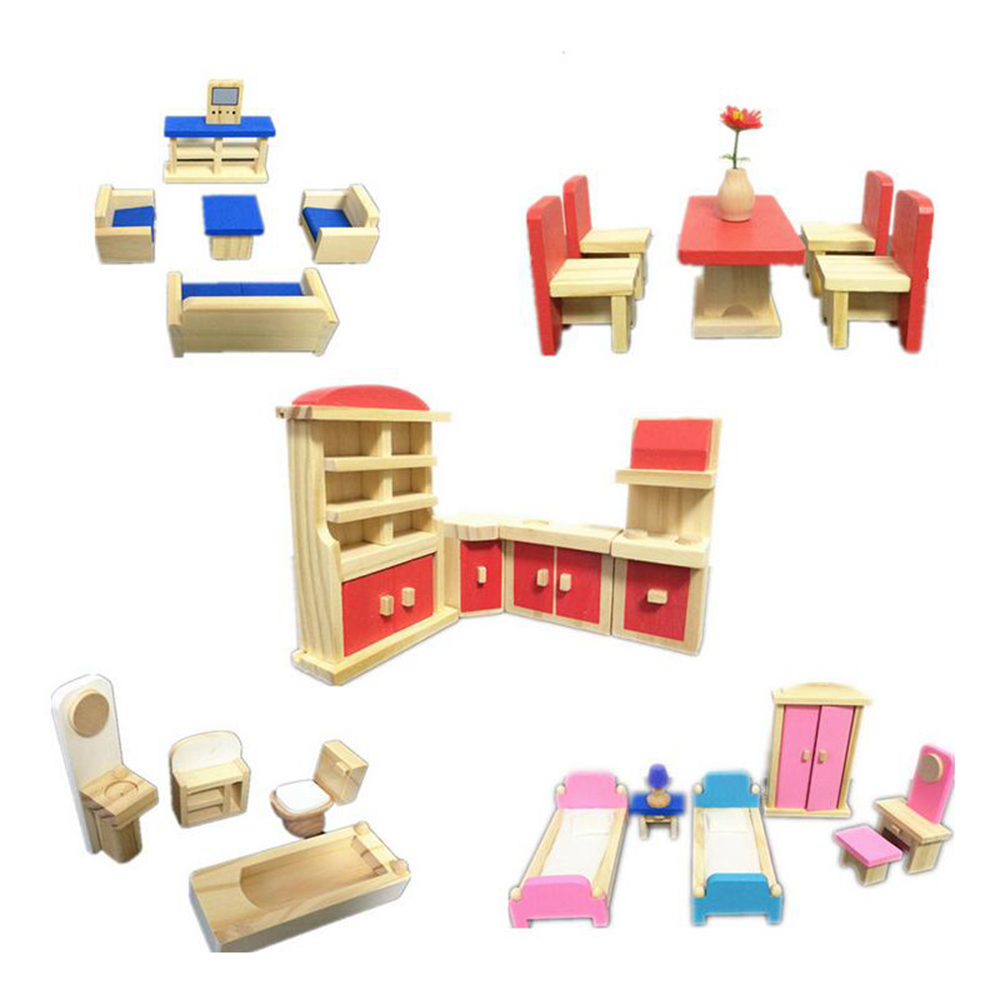 Wooden Handmade Dollhouse Furniture Miniature 1 12 Toys 5 Sets Miniature Furniture Doll For Kids