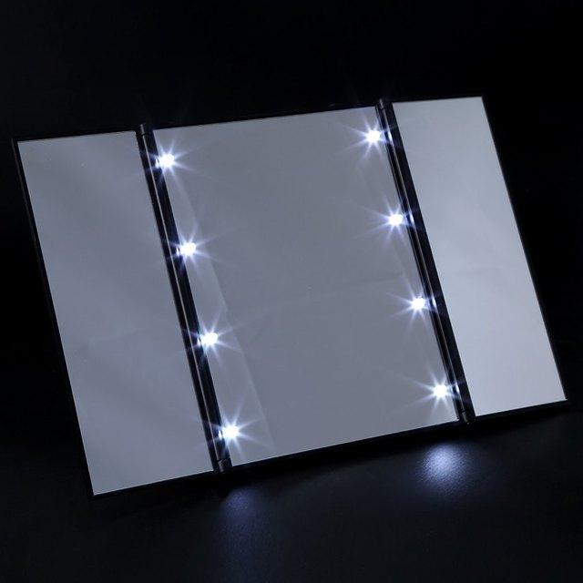 3 Tela de Toque New Design Dobrável Portátil 8 LEDs Iluminado Espelho de Maquiagem Make-up Ajustável Mesa Bancada Compõem espelho