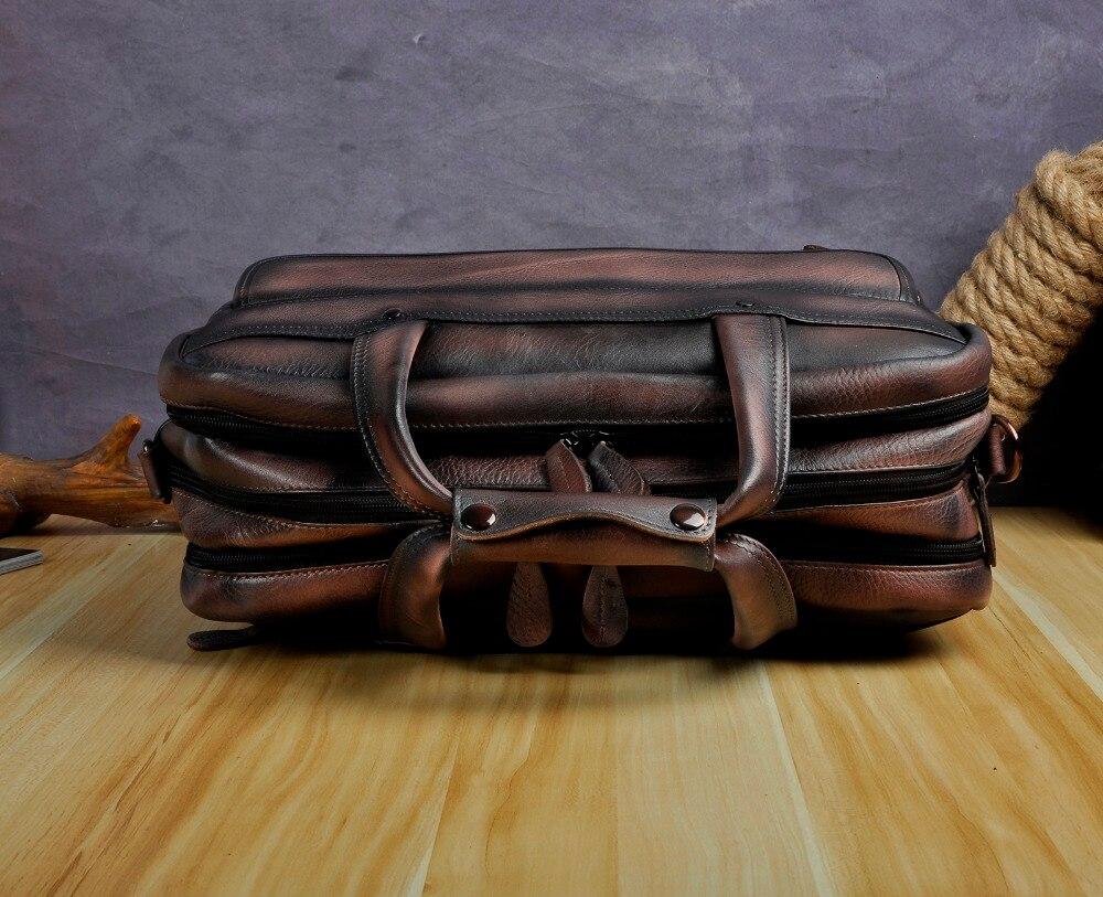 Mężczyźni woskowej oleju skóry antyczny projekt walizka biznesowa Laptop teczka na dokumenty moda Attache Messenger torba torby dużego ciężaru Portfolio 7146db w Teczki od Bagaże i torby na  Grupa 3