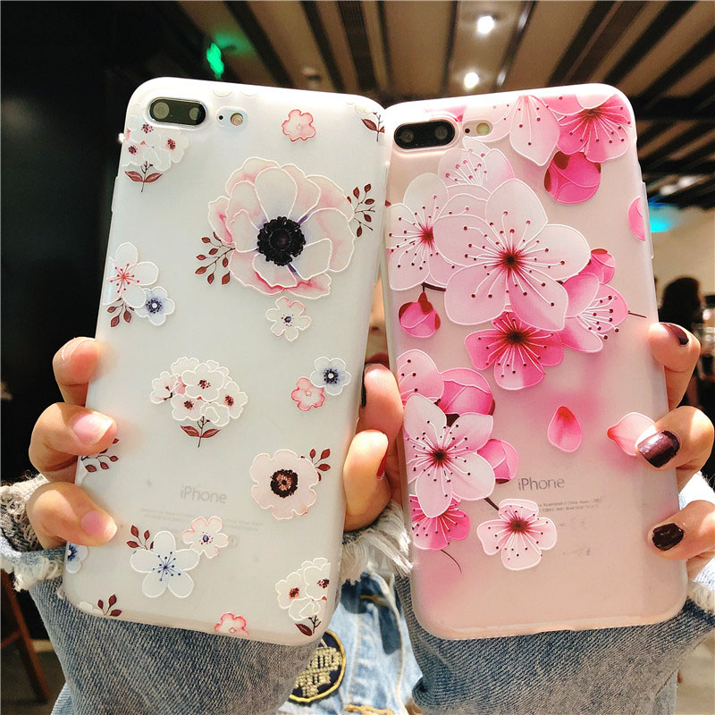 KIP7P1152_5_Flowers Pattern Soft TPU Case for iPhone 7 Plus