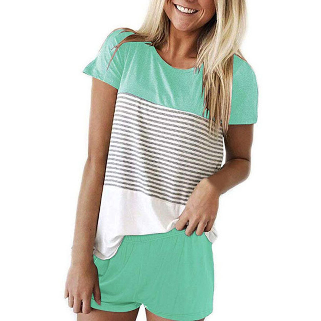 Women Shorts Set Striped Comfortable Sleepwear атласная пижама Cotton Pajamas For Women Lingerie Usual Summer Pajamas Set #3