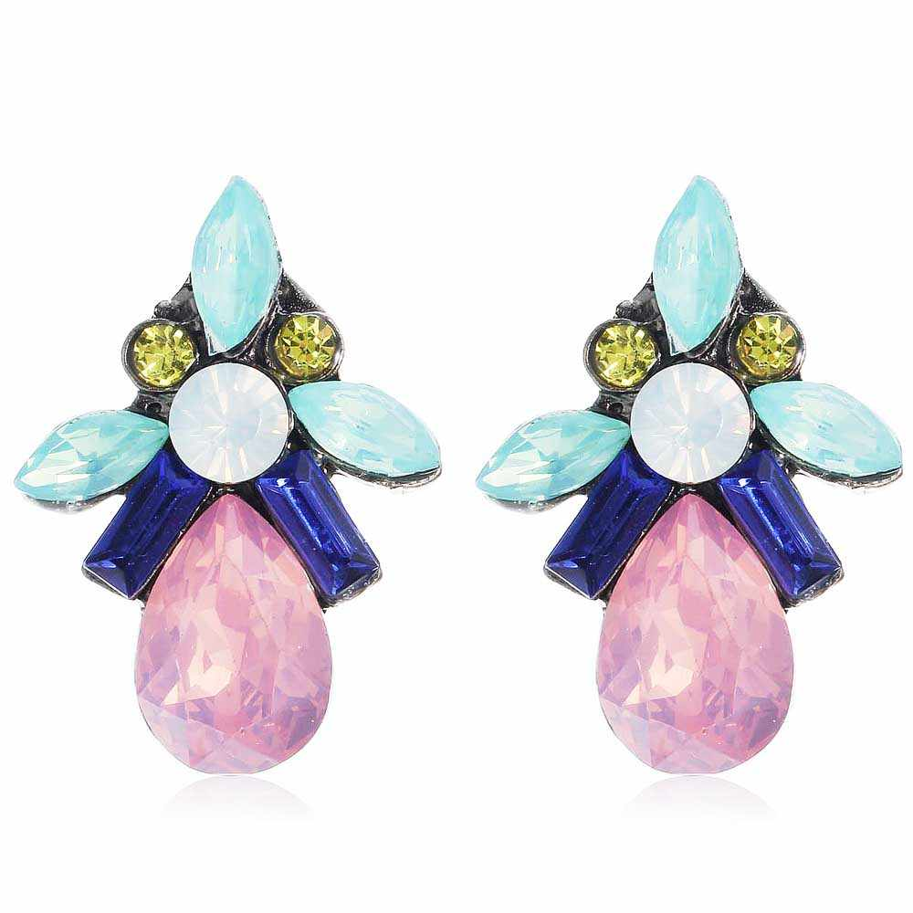 YaYi Pink Green Blue White Glass Yellow Rhinestone Dangle Earring Women's Fashion Gun  Black Gem Earrings For Women E1108