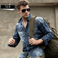 Unique Design Men's Spring and Autumn Denim Long-Sleeve Shirt Male Camouflage Loose Plus Size Retro Finishing Shirts